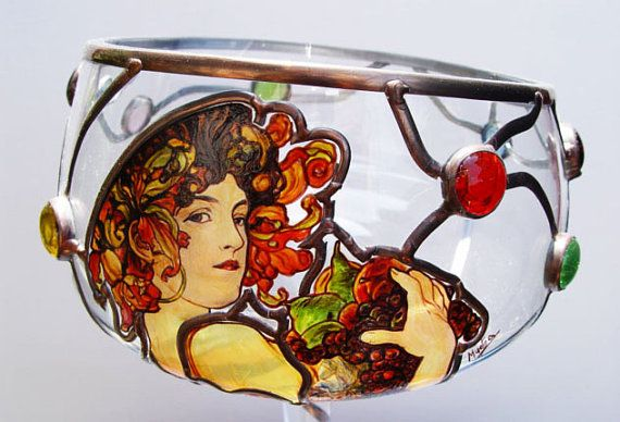 "14"" x 7"" (356 mm x 178 mm) Massive, glass, bright, hand-painted decorative vase, product of Czech glass factories. Precise copy of Mucha's artwork."