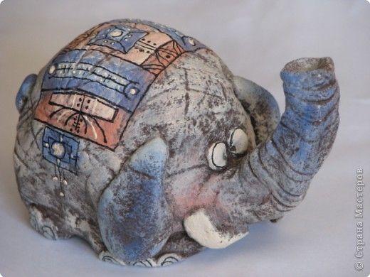 Поделка изделие Скульптура Лепка Роспись слонёнок Тесто соленое фото 1