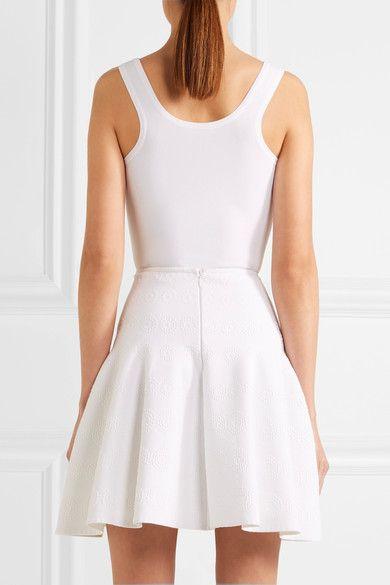 Alaïa - Stretch Jacquard-knit Mini Skirt - White - FR44