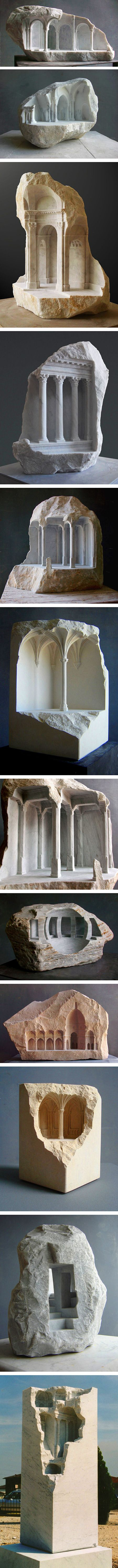 The marble sculptures by British artist Matthew Simmonds aren't your typical human forms popularized by the Ancient Greeks and Romans. Instead, he carves detailed and solitary architectural interiors into a corner or side of a hunk of stone. Simmonds leaves the natural edges of the rocks juxtaposed with his small, finished spaces. He pays homage to sacred buildings like baroque basilicas and Ancient Roman Temples by depicting some of their defining features like domed-roofs and elaborate ...