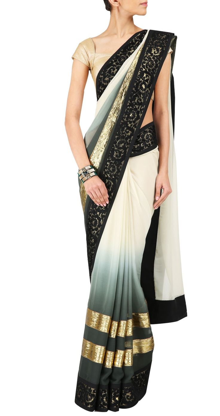 VARUN BAHL Ivory to greyish green hombre gota stripe sari perniaspopupshop.com