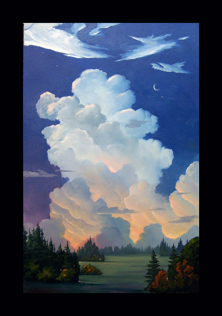 Impressionist Art Oil Landscape Western Moon & Clouds    ...BTW,Please Check this out:  http://artcaffeine.imobileappsys.com