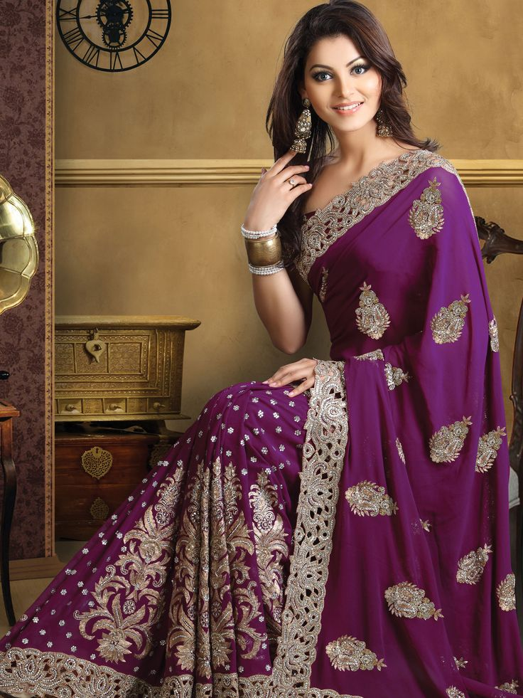 Deep Purple Pure Georgette #Saree With #Blouse @ $529.99 | Shop Here: http://www.utsavfashion.com/store/sarees-large.aspx?icode=slskk13451