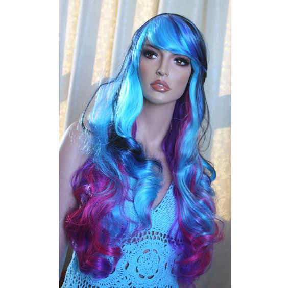 Long curly wig . synthetic multi-color wig - lolita  hair - high quality wig - ready to ship