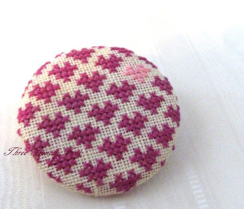 Hand Crafted Hearts Embroidery Cross Stitch Statement Brooch or Pin ... in my shop now!