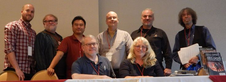 "VCon 2016 ""Opening Ceremonies.""  Surrey (Vancouver) BC. vcon.ca. — with Jamie anderson, Stan Hyde, Eric Chu, Richard Graeme Cameron, Robert J. Sawyer, Stephanie Ann Johanson and Spider Robinson."