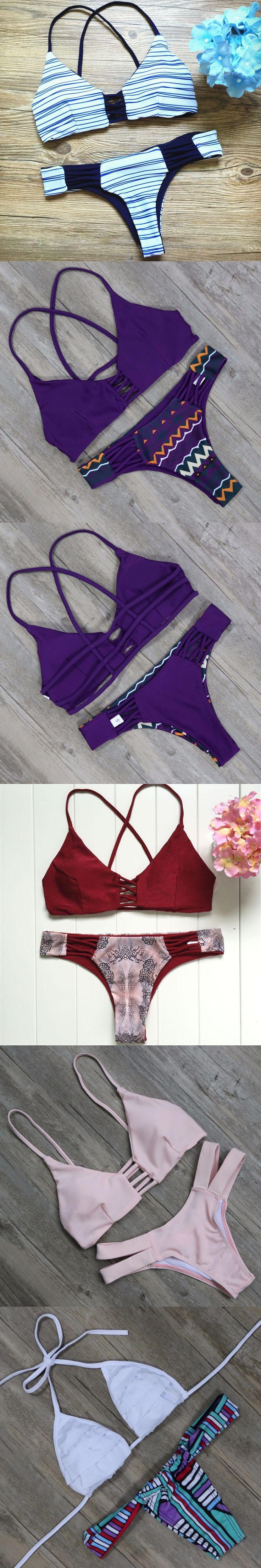 S - L Size Brazilian Bikinis Set Women Swimwear 2016 Bandage Biquinis Brazil Bikini Retro Swimsuit Blue Bathing Suit E687 $26.18