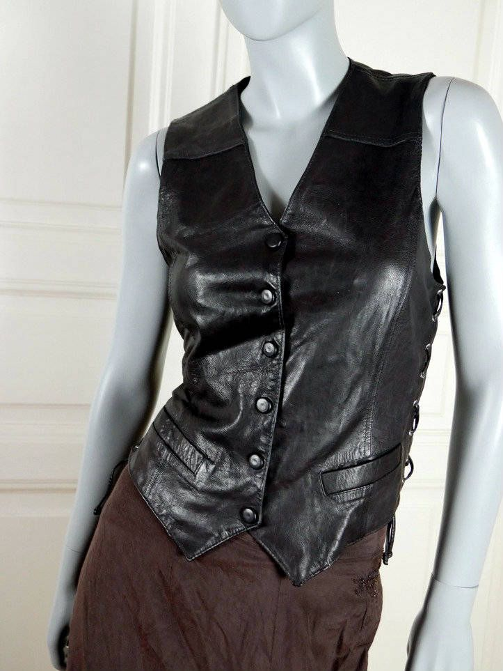Black Leather Vest, European Vintage Leather Waistcoat w Crisscross Lacing on Sides, Button-Down Vest: Size 8 US, Size 12 UK by YouLookAmazing on Etsy