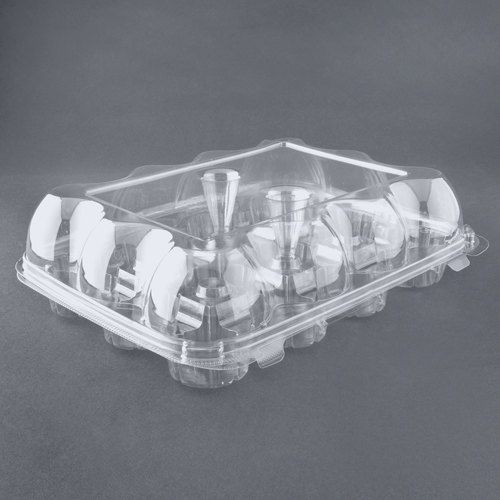 12 Compartment Hinged High Dome Clear Cupcake Container - 100 / Case