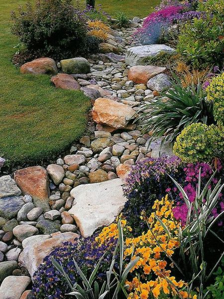 pebble and rock river bed for garden drainage along front yard to dress up rock bed