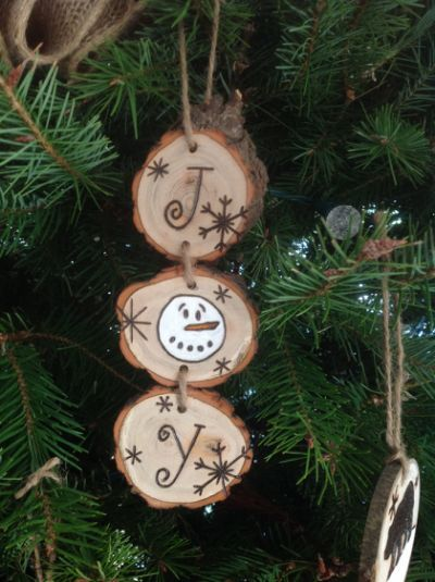 Rustic JOY Wood Burned Christmas