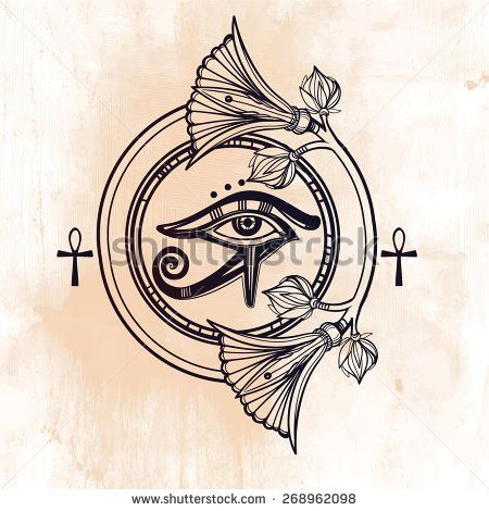 Hand-drawn vintage tattoo art. Vector illustration, frame symbol of pharaoh, element of ancient Egypt design in linear style. The eye of god of sun Ra Horus with lotus and ankh. Isolated. Aged card