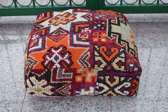handmade wool multicolor floor poufs Moroccan azilal square wool  pouf