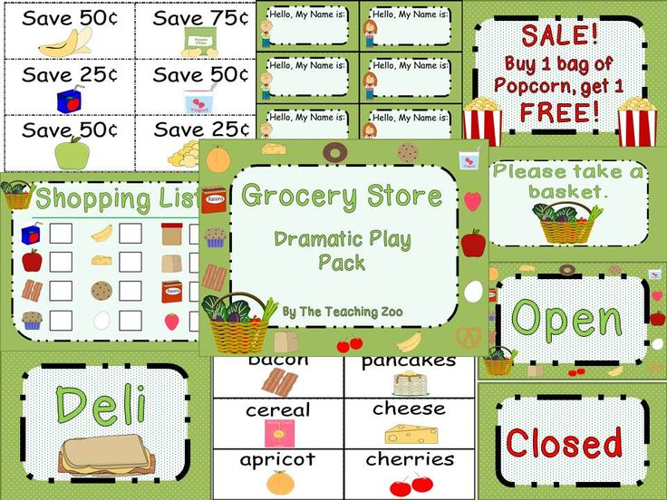 Grocery Store Dramatic Play Pack by The Teaching Zoo! Everything you ...
