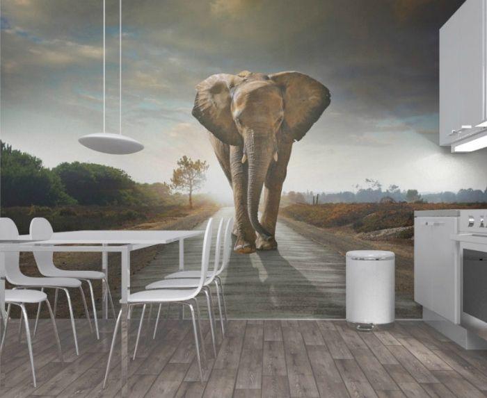 Оригинальные фотообои с трехмерным изображением огромного слона.