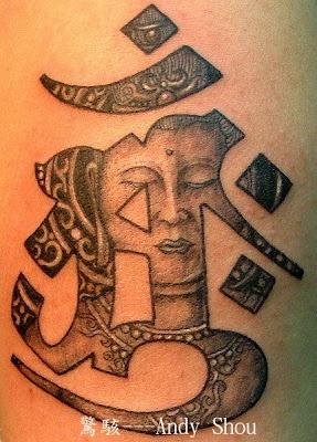 om character and a buddha face #Buddha #tattoo