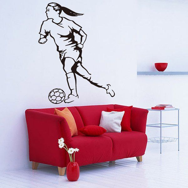 $7.33 Female Football Player Removable Living Room Decor Wall Stickers