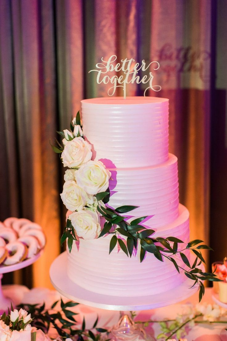 Romantic Jupiter Wedding at Wyndham Grand Jupiter at Harbourside Place, FL  Classic white tiered wedding cake!  Photographer:  Thompson Photography Group