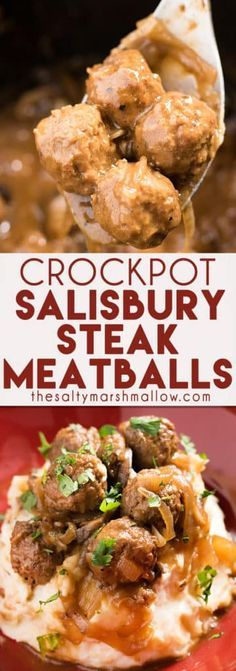 Crockpot Meatballs and gravy: These salisbury steak style meatballs are super easy to make for a weeknight family dinner! The best recipe for tender meatballs cooked in brown gravy right in the Crockpot or Slow cooker, and delicious served over mashed potatoes!