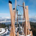 Piramyden Kogel, Austria.  Wooden architecture tags the sky