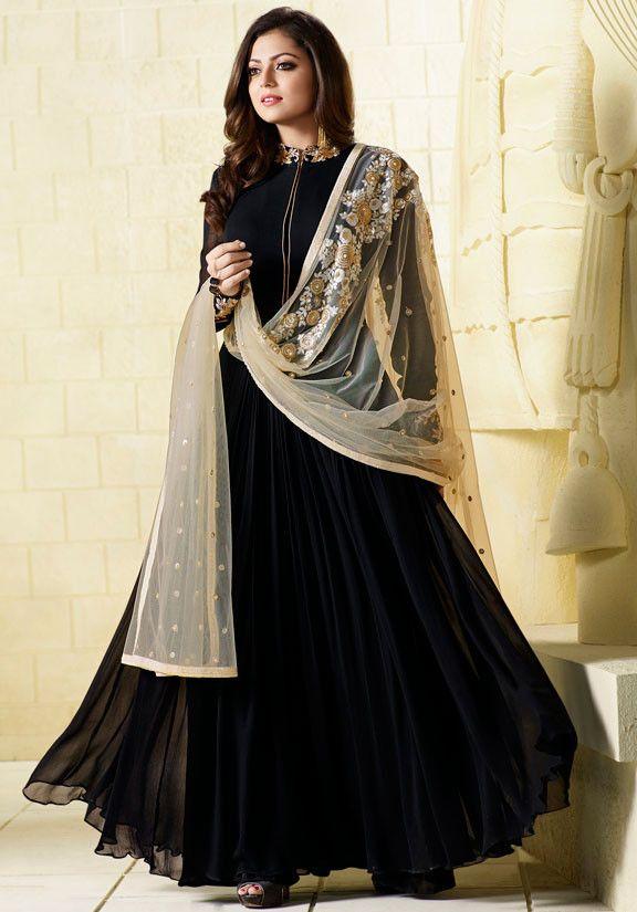 Drashti Dhami Black #Designer #Anarkali Suit