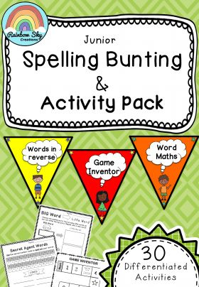 The Complete JUNIOR Spelling Bunting and Activity Pack - 30 spelling resources ready to go. Year 1 - 2. Can be used with any spelling lists ~ Rainbow Sky Creations ~