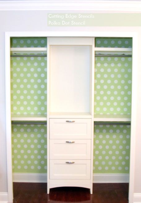 Paint the inside of your closet with #CuttingEdgeStencils' Polka Dots #Stencils