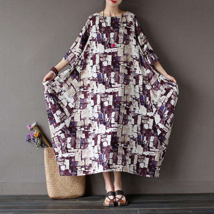 Women summer  print cotton linen dress