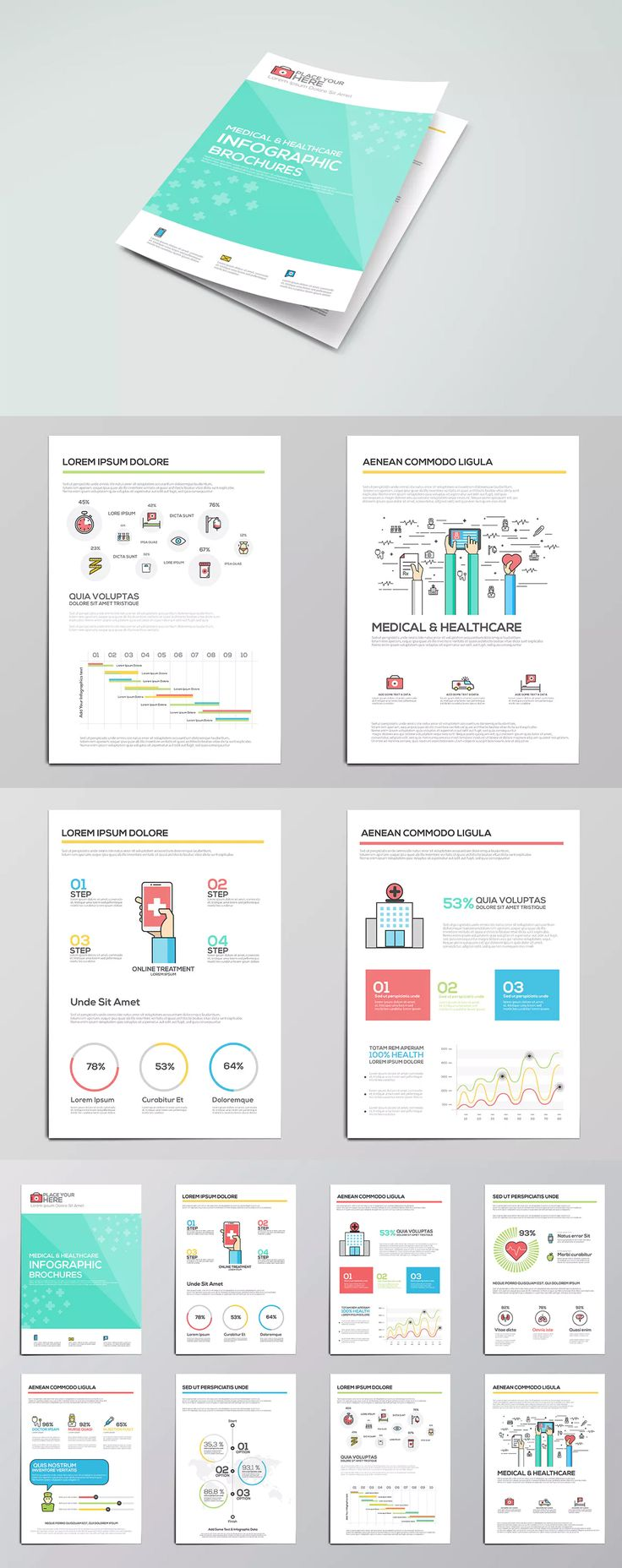 Medical Infographics Elements For Brochures Template AI, EPS  Medical Brochures Templates