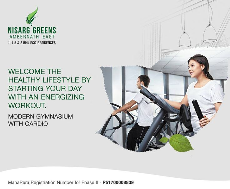 Nisarg Greens - Ambernath East 1, 1.5 & 2 BHK Eco-Residences Modern Gymnasium with Cardio #MahaRera Registration Number for Phase II - P51700008839 To know more log on to: http://www.nisarggroup.com/greens/ Or you can call on: 08655 787878   SMS 'GREENS' to 56161 #NisargGreens #Ambernath #RealEstate #EcoLuxury #Property #Homes