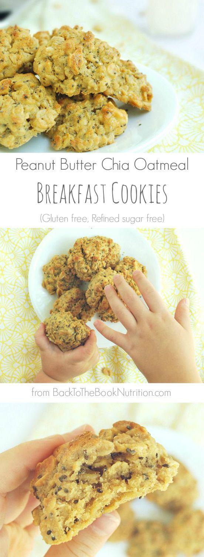 Peanut Butter Oatmeal Breakfast Cookies (Gluten free, refined sugar free)