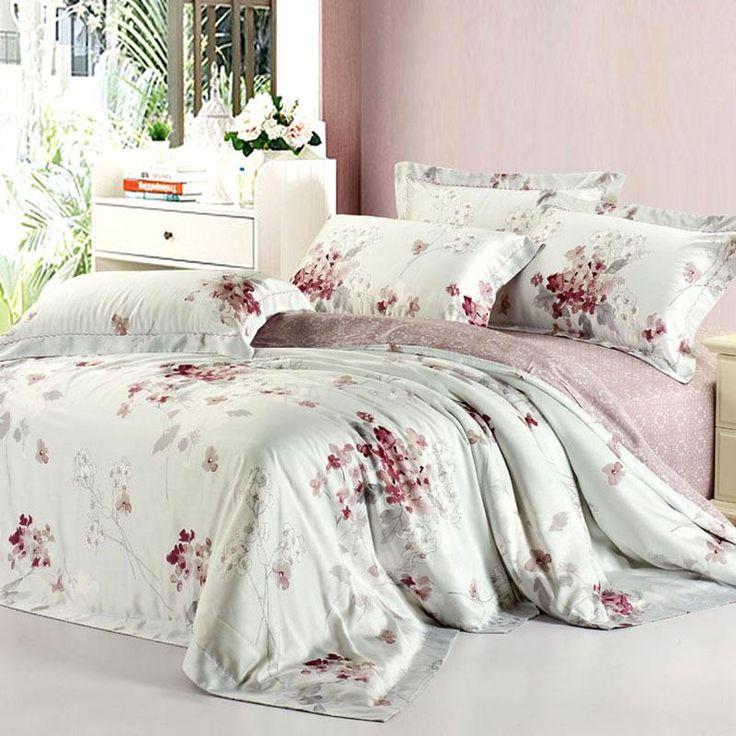 White Floral Reactive Print Tencel 4-Piece Queen/King Size Bedding Sets