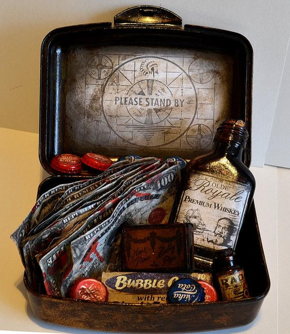 Handmade vault tec EMERGENCY KIT kit includes:    - Royal olde premium whiskey bottle  - bubble gum box  - RAD X (without any drugs ;)  - 8