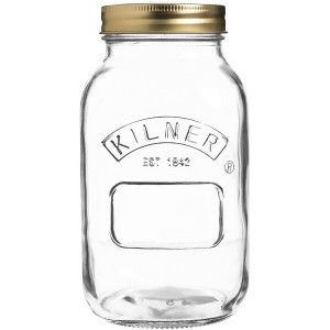 Kilner have been making durable and high quality glass jars and bottles since 1842. Made in England. Non - toxic and BPA free. Preserving jar for jams and chutneys with 2 piece vacuum seal lid.1L.
