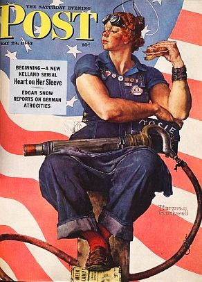 1940s fashion (not really, but...) The famous Rosie the Riveter! Fictional, but represented millions of female factory workers during wartime (1941-1945)