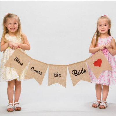 Walk down the aisle with this 100% natural jute fabric wedding pennant. Embroidered in black and red thread.