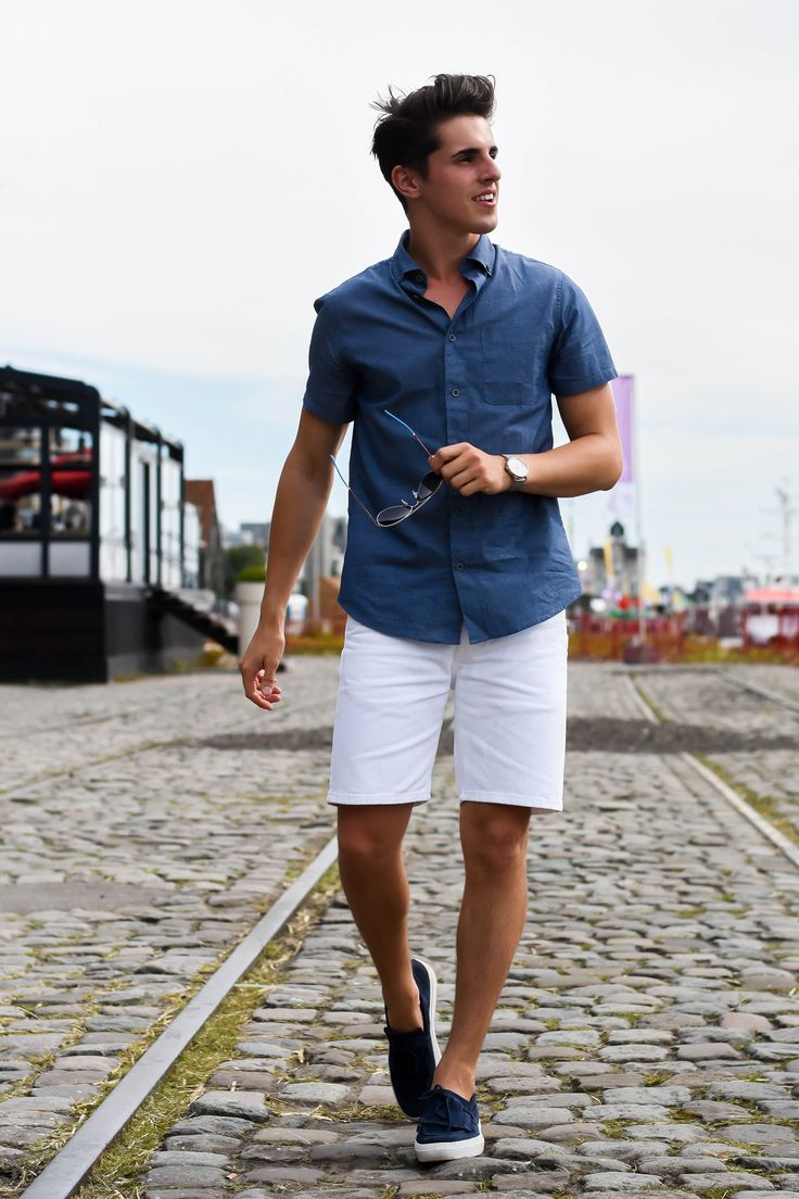 White t shirt fashion tips - Short Sleeve Button Down White Shorts Navy Slip Ons