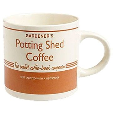Potting Shed Coffee Mug. The Potting Shed collection is full of vintage gardening charm. It just makes you want to get out and start digging!  Remember though, to reward yourself with a nice cup of tea whilst surveying your hard work!