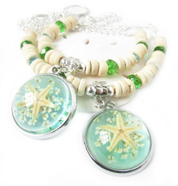 These starfish curtain tiebacks have a center focal resin starfish pendant and gorgeous natural coconut shell beads. A sweet pair of drapery hold backs that bring the beach into your home year round. There are matching crystal beads in blue and green for extra sparkle. A beautiful