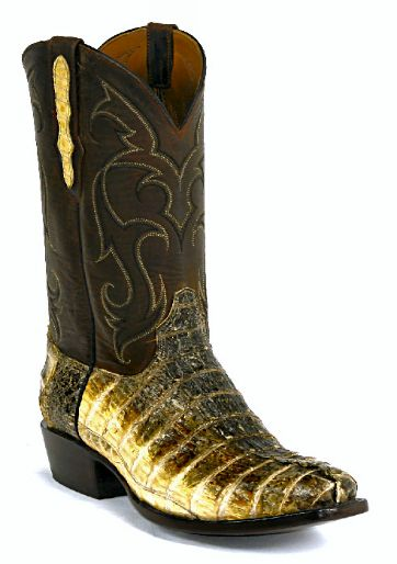 Caiman Crocodile Natural Tail Boots Style 716 Custom-Made by Black Jack Boots