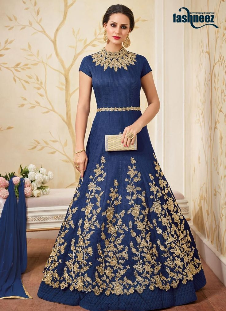 Buy salwar kameez, salwar suits and designer salwar kameez online. Grab this art silk desinger anarkali suit for reception and wedding.