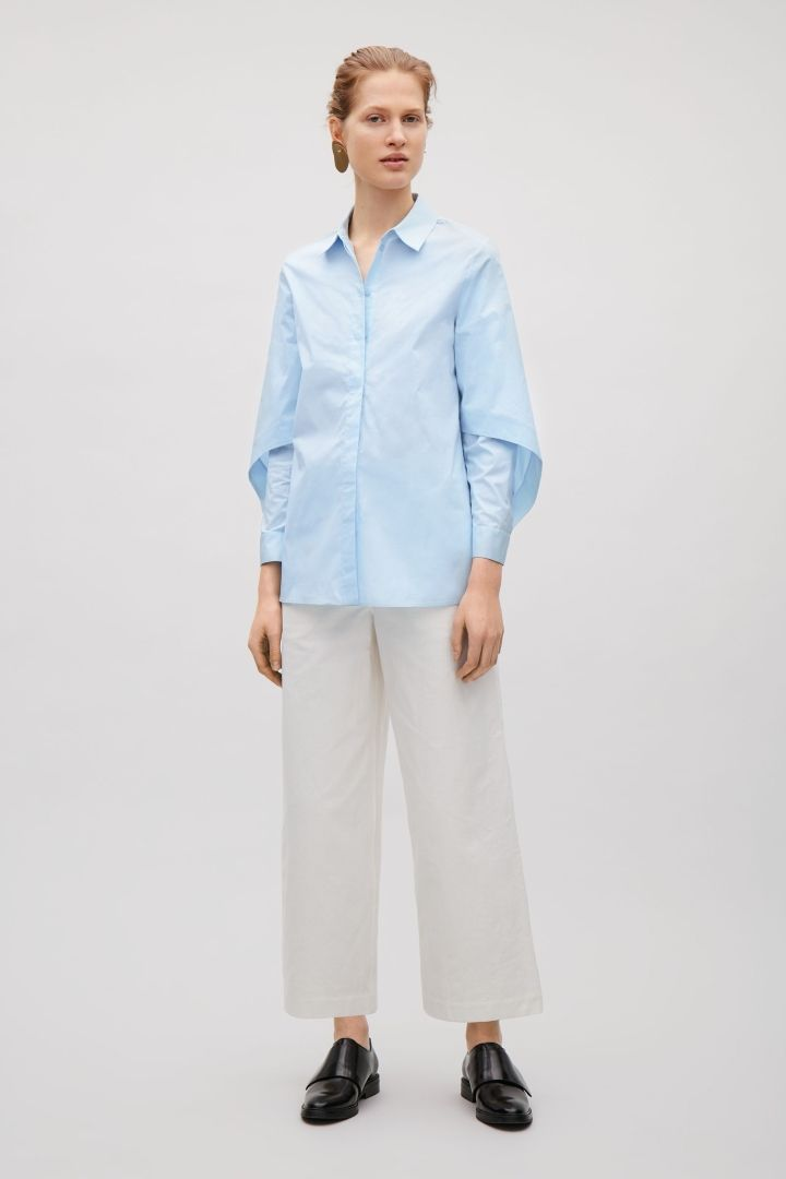 COS image 1 of Shirt with sculptural sleeves in Powder Blue
