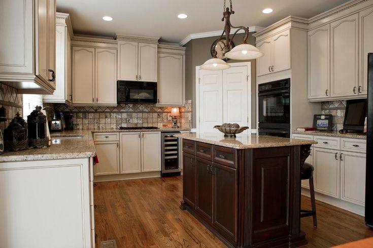 Faux Painting Cabinets with Brown Wall Double Ceiling Fan Textured Corner Fireplace