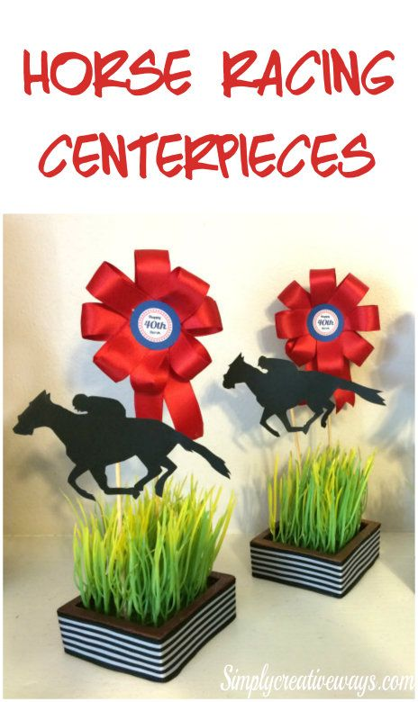 DIY Horse Racing centerpieces, that are light weight, easily customized and perfect for tables or food station.