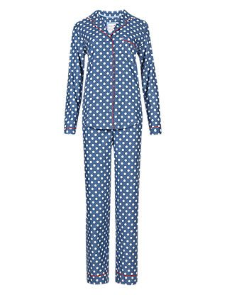 Pure Cotton Revere Collar Spotted Pyjamas | M&S