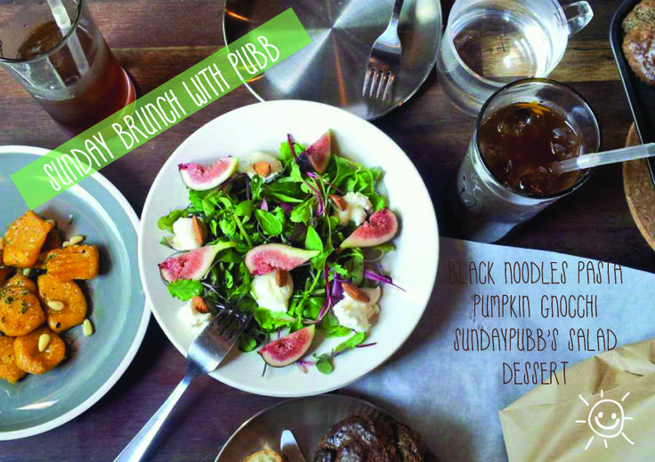 figsalad squash gnocchi chocolatecupcake on brunch table / brunch poster