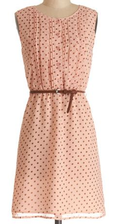 polka dot dress with pin-tucks