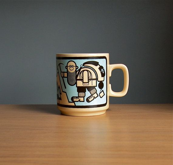 Hornsea Pottery World's Best Grandpa Mug, 1970s. John Clappison. Coffee cup with humorous Grandfather Illustration. Grandad. English.
