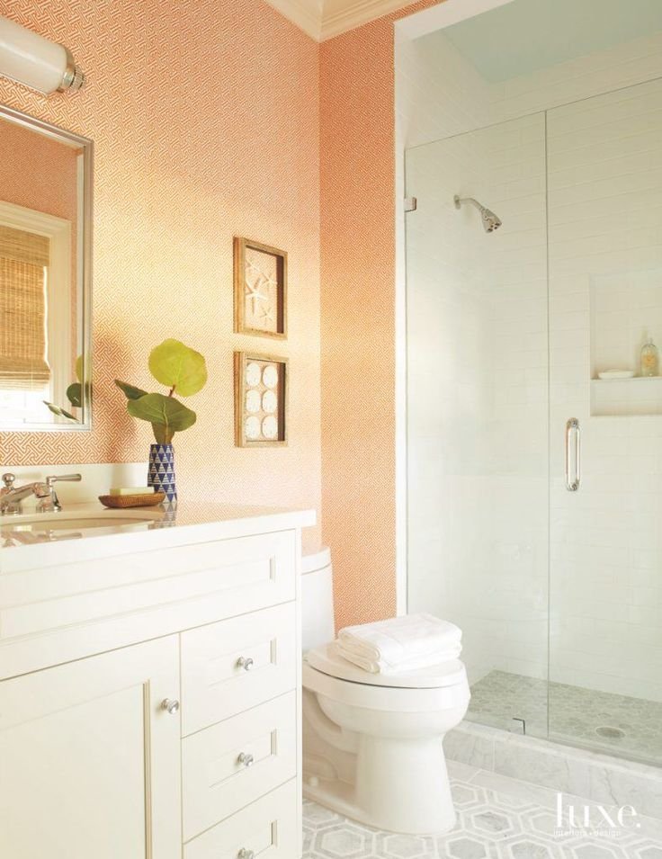 view bathroom ideas%0A A peach pop of color takes center stage in this master bathroom