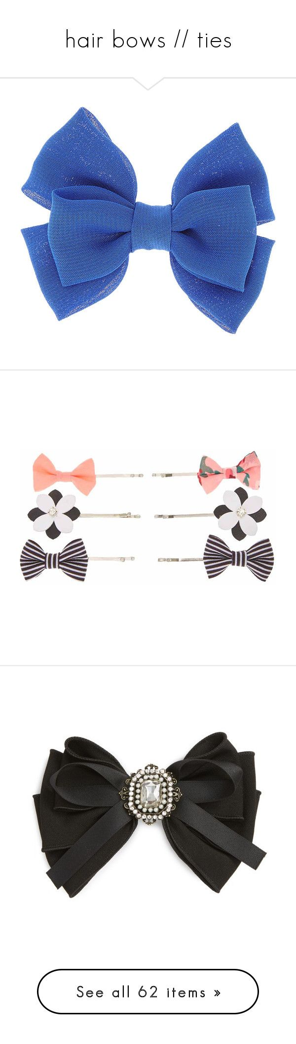 """""""hair bows // ties"""" by cecilialukas on Polyvore featuring accessories, hair accessories, royal blue hair accessories, hair bows, royal blue hair bow, chiffon hair bows, bow hair accessories, floral hair pins, bobby hair pins and floral hair accessories"""